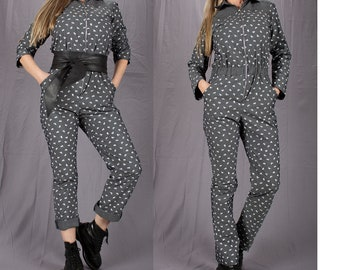 92fb717c9fa8 90s Jumpsuit   Zipper Jumpsuit   Long Sleeve Style Onesie Jumper   Workers  Coveralls   Loose Overalls   Romper   Size S   Size M