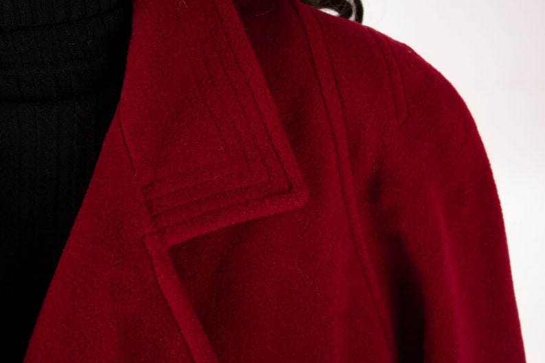 Late 60/'s  Early 70/'s Style Classic Vintage Red Winter Wool Coat for Women