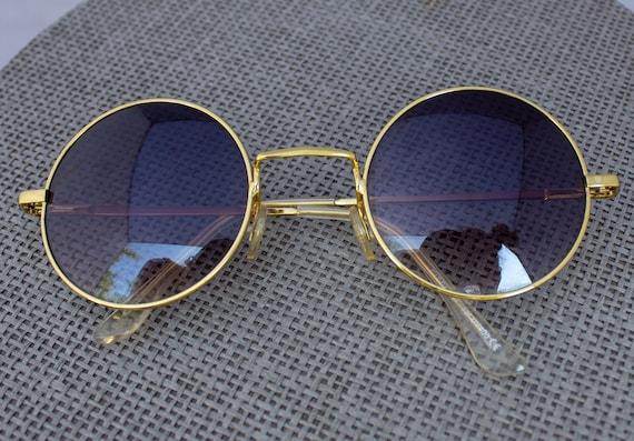 John Lennon Black /& Gold  Round Hippie  Style Hippy sunglasses 2 Piece Set