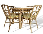 Vintage Bamboo Cane Rattan Dining Table and Bamboo Chairs By Angraves of Leicester