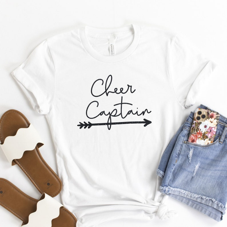 Gift for her. Glittered Cheer Captain t-shirts sweatshirts /& hoodies available in your choice of colors
