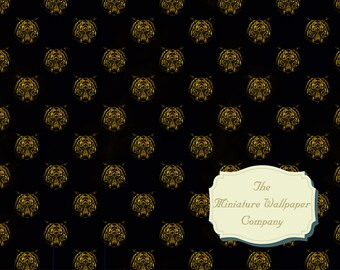 Black And Silver Tiger Floral Luxury Wallpaper A3 Sheet Size All Scales Miniature Wallpaper