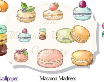 Macaron Madness Waterslide Decals/Decoupage Tissue - For Dolls House Miniatures - 12th Scale - Miniature DIY