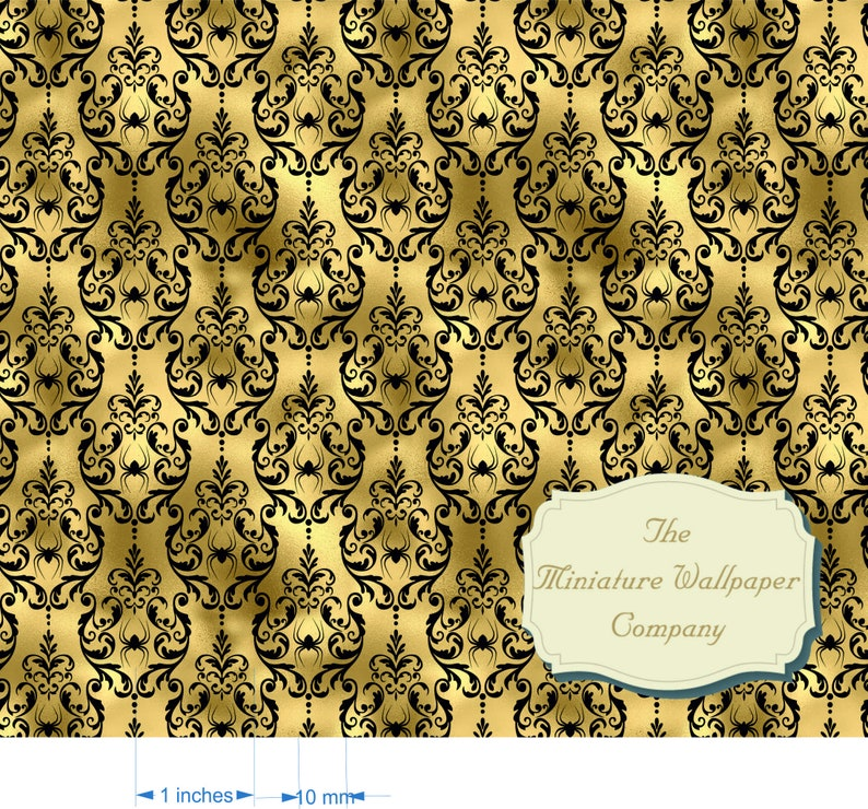 Golden Spider Foil Damask Luxury Wallpaper Professional Printing 170gsm or self-adhesive All Scales A3 Sheets