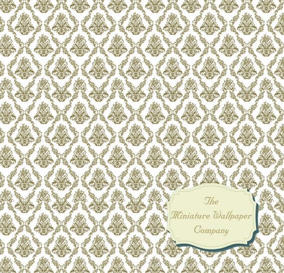Luxury Dollhouse Wallpaper: Luxury Mayfair Damask Wallpaper 12th Scale Miniature