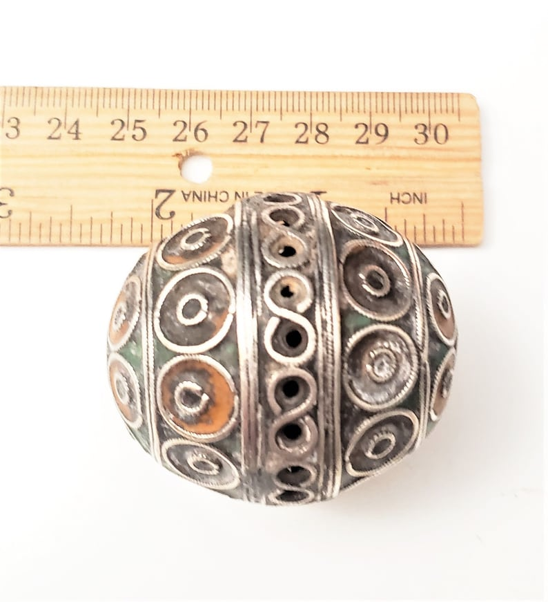 Antique Moroccan Enameled Silver Ball Pendent with EnameledPendantHand Crafted Silver,Pendants Necklace,Ethnic Jewelry,Tribal Jewelry