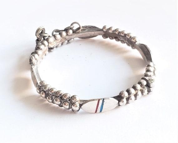 Antique Silver Moroccan Berber Bracelet Ethnic Tri