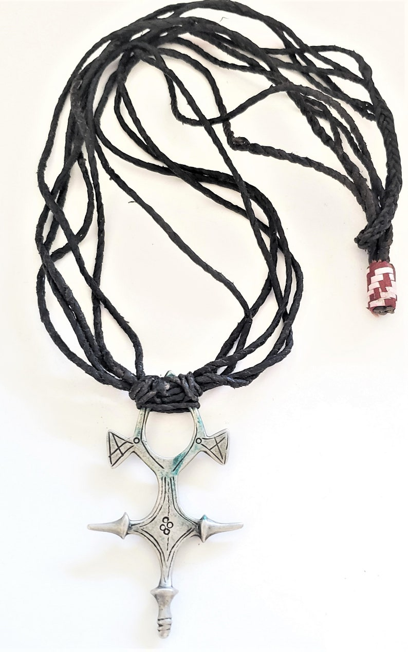 Vintage Tuareg silver cross pendant leather cord necklace EthnicTribalHand Crafted Silver,Pendants Necklace,Ethnic Jewelry,Tribal Jewelry