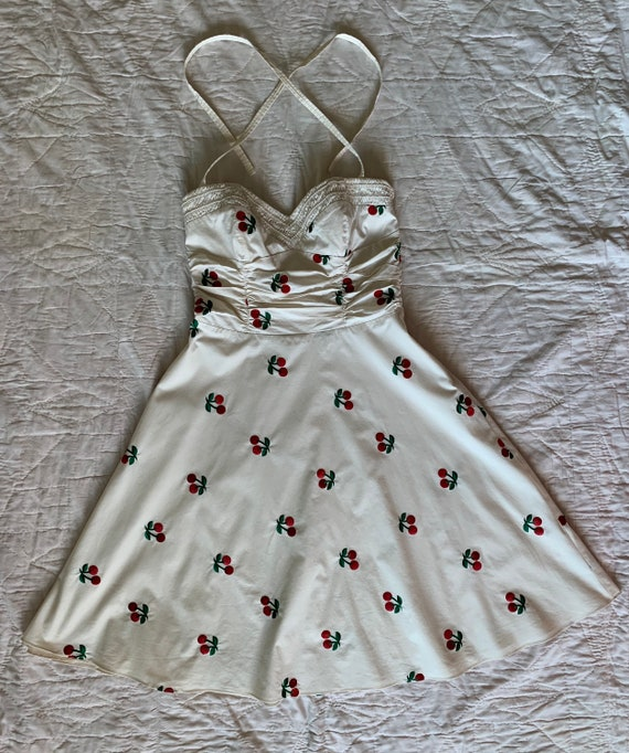Vintage Betsey Johnson Cherry Dress Cherry Embroid