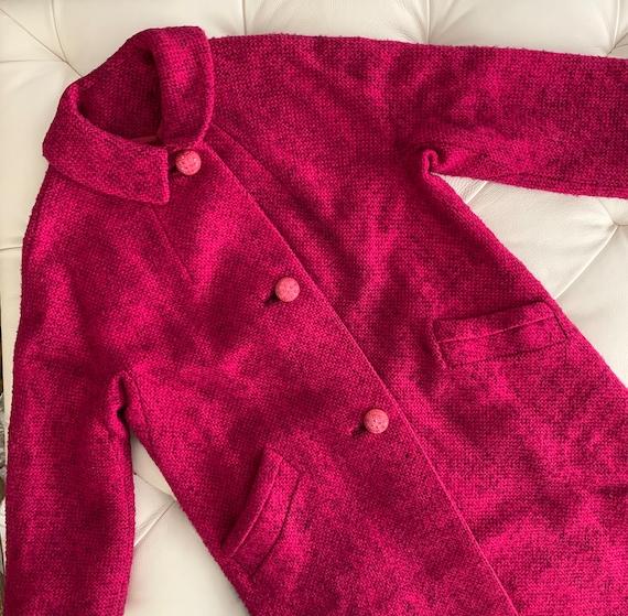 Vintage 40s 50s Coat Raspberry Pink Rhinestone But