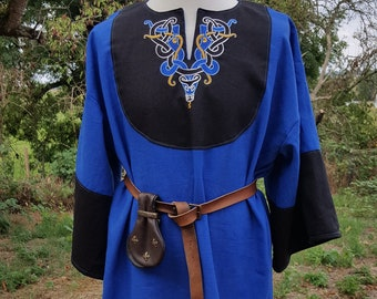 Viking Tunic, Size XL, Medieval and Celtic, Custom Made, Celtic Knot Embroidery, Handfasting