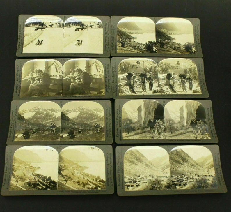 Lot Of 8 Early 1900s Switzerland Keystone Stereoviews Alps Mountains Stero Card