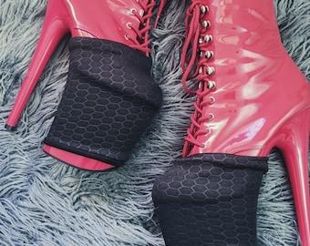 HEX PLATFORM PROTECTORS - Pleaser Pole Flow Shoe Covers Black Hexagon Print