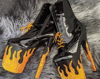 LIT HEELS - Haus of Heel Pleaser Custom Boots / Heels  / Exotic  / Drag Glitter Flames neon orange