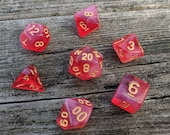White Blood Cells DnD Dice Set, Polyhedral dice, D D dice, Dungeons and Dragons, Table Top Role Playing Dice. Red semi translucent Dice