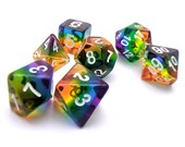 Rainbow Too, DnD Dice Set, Transparent Rainbow Polyhedral dice, D D dice, Dungeons and Dragons, Table Top Role Playing Dice