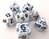 Blue Splatter DnD Dice Set, Polyhedral dice, D D dice, Dungeons and Dragons, Table Top Role Playing Dice. White with splatter paint