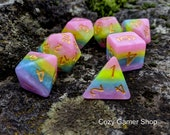 DnD Dice Set, Pastel Rainbow Polyhedral dice, D D dice, Dungeons and Dragons, Table Top Role Playing Dice. Opaque Layered Dice in Rainbow
