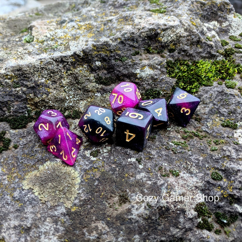 Table Top Role Playing Dice Polyhedral dice Warlock DnD Dice Set Dungeons and Dragons Black and Purple Galaxy Glitter Dice D/&D dice