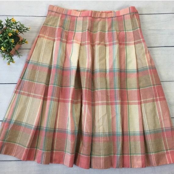 Vintage Pendleton Plaid Pastel A-Line Wool Skirt