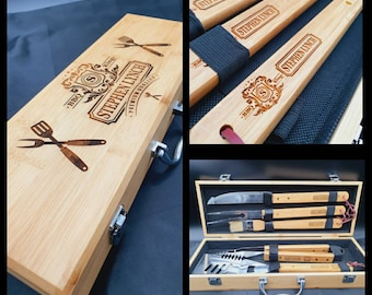 Personalised BBQ Grill Tool Set - Fathers Day . Fathers Day Gift. Fathers Day Gift From Daughter. Gift For Him. Dad Gift. Engraved Dad Gift.