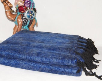 52cccc67c Yak Wool Blanket Blue Throws Large Shawl Travel Size Soft   Warm Wrap  HandLoomed Nepal.