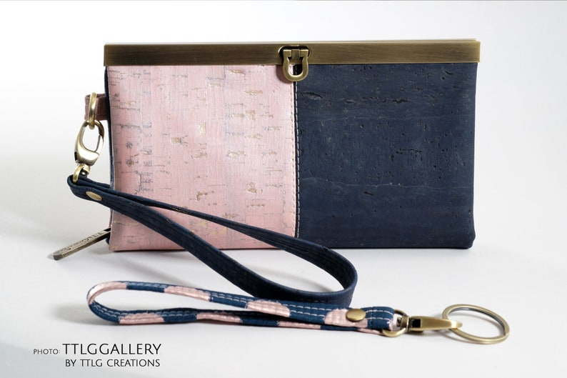 Diva Cork : Pink and Navy Two-toned Cork Wallet Made to image 0