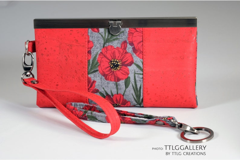Diva Clutch : Red Cork Poppy Cork and Fabric Made to Order image 0