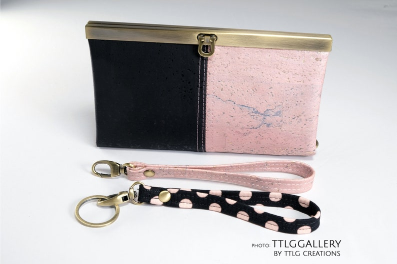 Diva Cork : Pink and Black Two-toned Cork Wallet Made to image 0