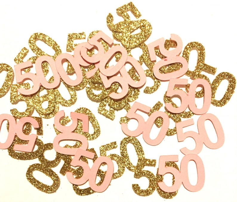 Pink And Gold 50th Confetti 50 Ct Party Decorations