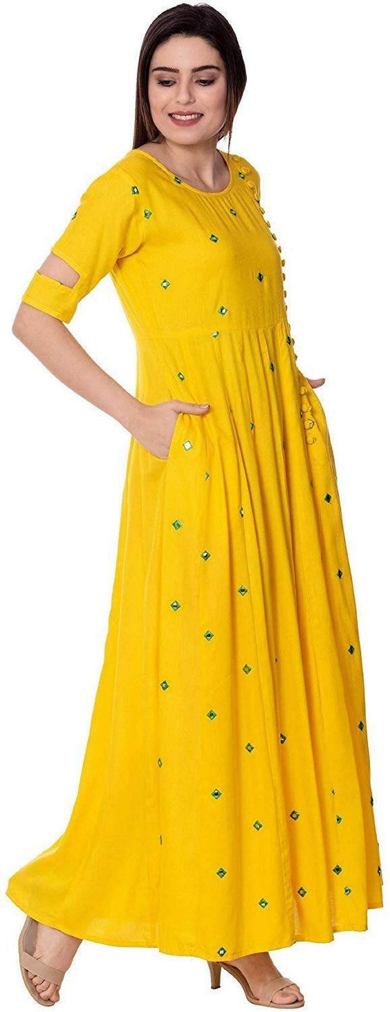 Indian Handmade Embroidered Full Mirrror Work Anarkali Rayon Kurti Yellow Kurtis boho wedding dress Pocket Kurtis Ethnic Kurtis