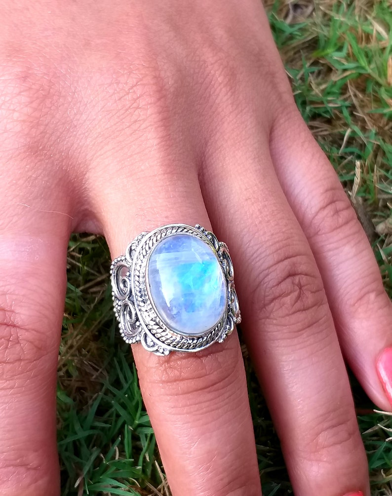 handcrafted ring Oval Stone Ring June Birthstone Silver Ring Rainbow Moonstone Ring Blue Stone Ring Statement Ring boho Gift For Her