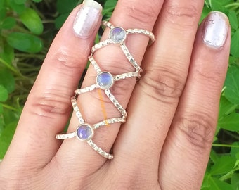 Natural Moonstone Ring, 925 Silver Ring, Tristone Ring, June Birthstone Ring, Gifts For Her, Boho & Hippie Style Ring, Full Finger Ring