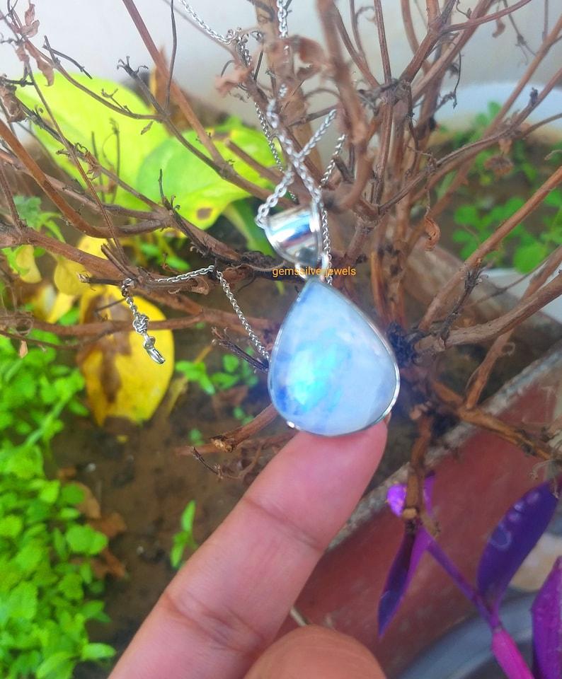 Healing Crystal Moonstone Pendant Victorian Pendant Gift 925 Sterling Silver Blue Flash Pendant June Birthstone Pear Shape Pendant