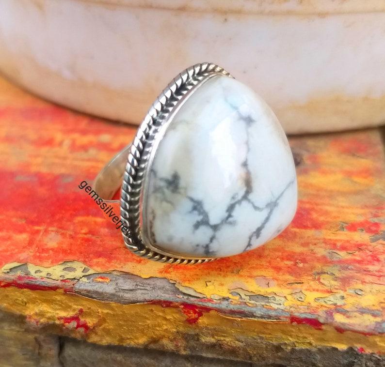 White Buffalo jewelry Boho Statement Ring Promise Ring White turquoise ring White Howlite 92.5/%  Sterling Silver Triangle Shape Stone Ring