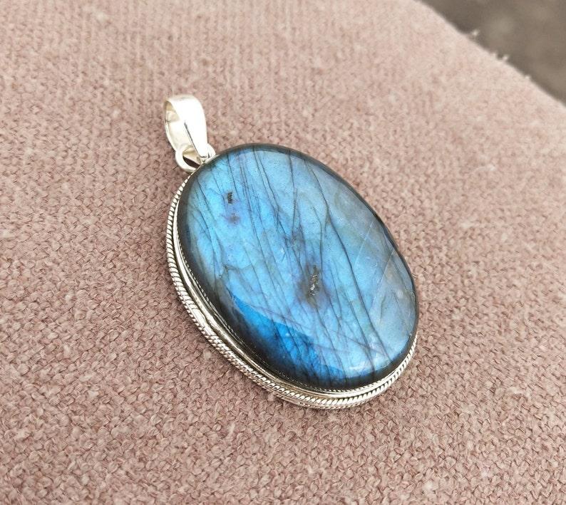 Labradorite Pendant 925 Sterling Silver Natural Gemstone Pendant Blue Flash Pendant Large Pendant Natural Labradorite Pendant Gift For Her