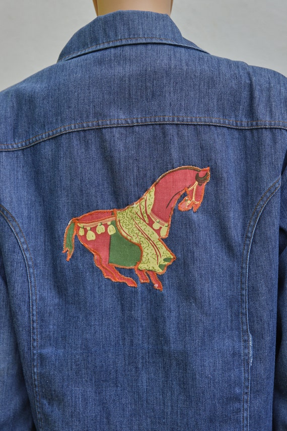 Vintage JC Penney Snap Up Denim Jacket, Extra Lar… - image 1