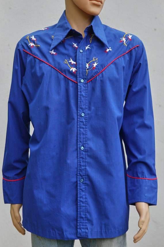 Vintage Embroidered Western Snap Shirt, XXL