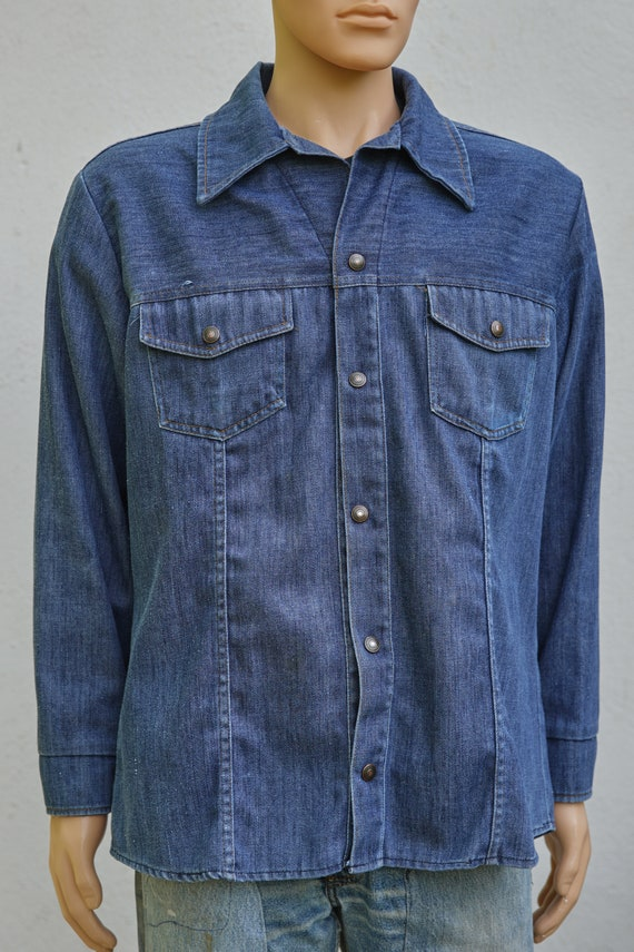 Vintage JC Penney Snap Up Denim Jacket, Extra Lar… - image 3