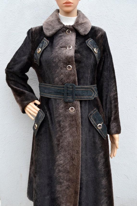 1960's Faux Fur Mod Coat, Small