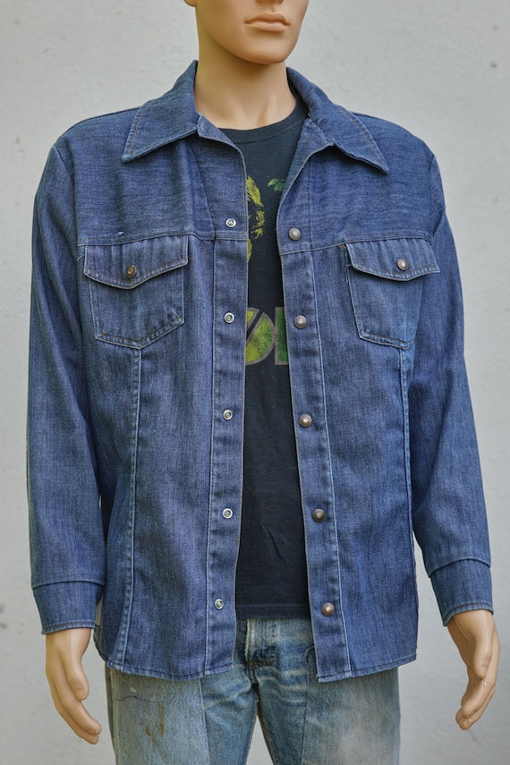 Vintage JC Penney Snap Up Denim Jacket, Extra Lar… - image 4