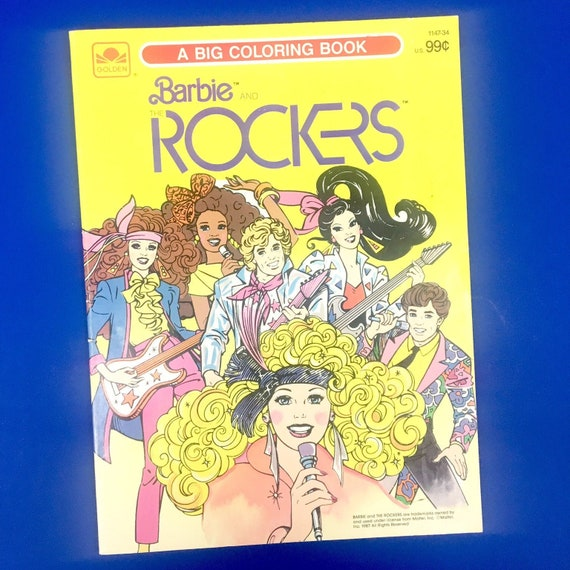 Barbie and the Rockers Big Coloring Book Golden 1987