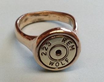 14k 223 Wolf Bullet Cartridge Ring