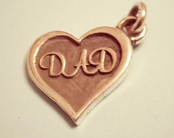 Father's Day Sterling Heart Charm (Dad) (SALE!)