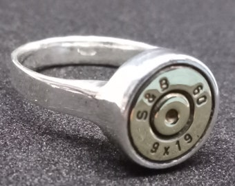 Cartridge Ring. Sterling Silver, size 9