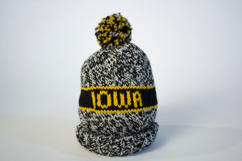 2ca95984 Iowa Hawkeyes Hand Knit Hat | Etsy
