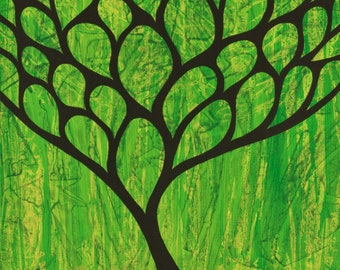 Woodland Painting   Tree   Forest   Wall Art   8in x 8in   Green Background   Brad Mager