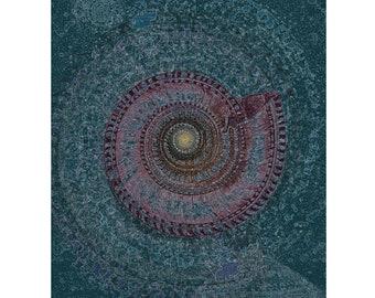 Undersea Serenity   Sea Shell   Wall Art   Blue Green Red   Undersea Water Creature   Swirling Mandala   Digital Art Print by Brad Mager