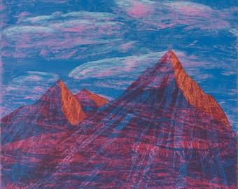 Mountains   Sunrise   Wall Art   Original Painting   8x8   Landscape   Brad Mager