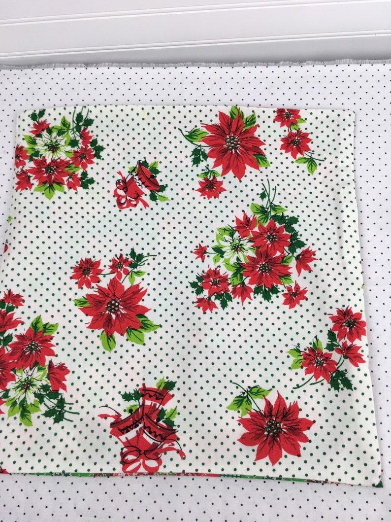 Vintage Christmas Tablecloth Fabric Throw Pillow